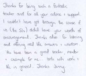 Letter of thanks from Graphic Design student